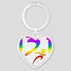 Rainbow 13.1 half-marathon Heart Keychain