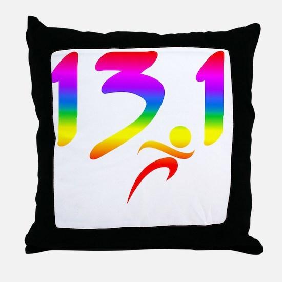 Rainbow 13.1 half-marathon Throw Pillow