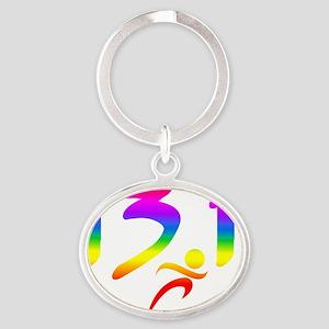 Rainbow 13.1 half-marathon Oval Keychain