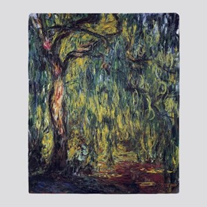 Weeping Willow by Claude Monet Throw Blanket
