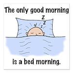 Bed Morning Square Car Magnet 3