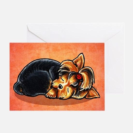 Yorkie Sleeping Red Greeting Card