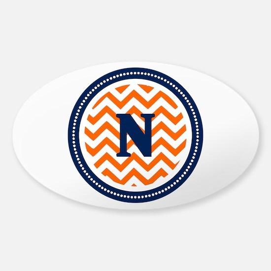Orange & Navy Sticker (Oval)