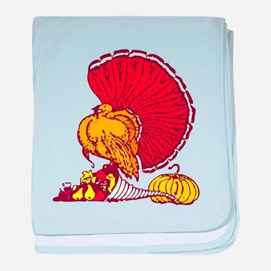 Thanksgiving Turkey Cornucopia baby blanket