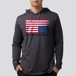 Upside Down Flag Distress Mens Hooded Shirt