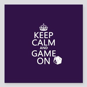 "Keep Calm and Game On Square Car Magnet 3"" x 3"""