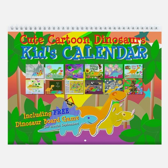 Cute Dinosaurs Wall Calendar for Kids
