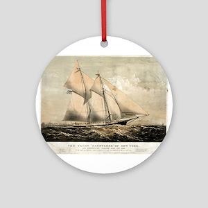 The yacht Dauntless of New York - 1869 Round Ornam