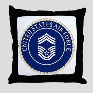 USAFChiefMasterSergeantCapCrest Throw Pillow