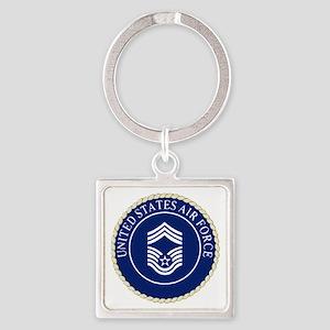 USAFChiefMasterSergeantCapCrest.gi Square Keychain