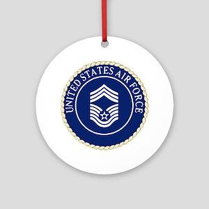 USAFChiefMasterSergeantCapCrest Round Ornament