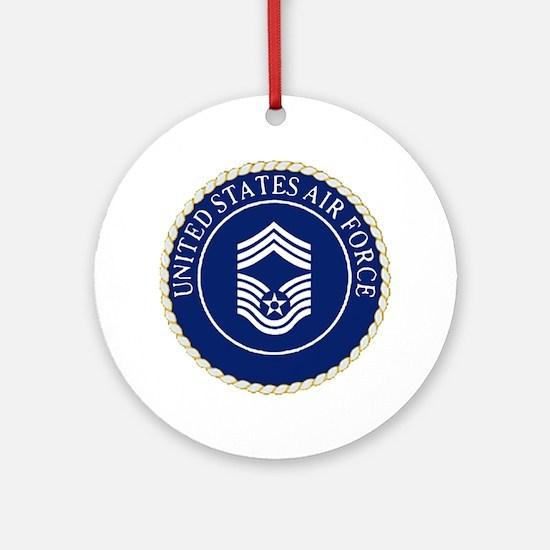 USAFChiefMasterSergeantCapCrest.gif Round Ornament