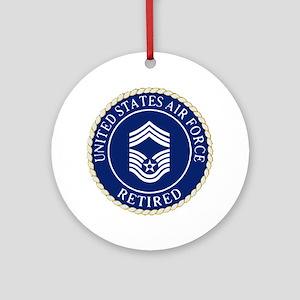 USAFRetiredChiefMasterSergeantCapDe Round Ornament