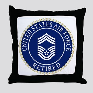 USAFRetiredChiefMasterSergeantCapDevi Throw Pillow