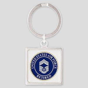 USAFRetiredChiefMasterSergeantCapD Square Keychain