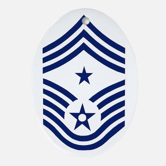 USAFCommandChiefMasterSergeantBlueSt Oval Ornament