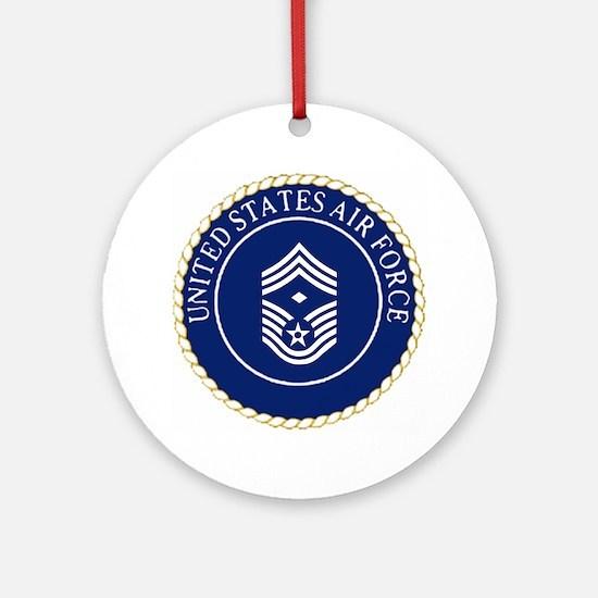 USAFFirstSergeantE9CapCrest.gif Round Ornament
