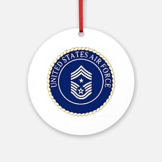 USAFCommandChiefMasterSergeantCapCr Round Ornament