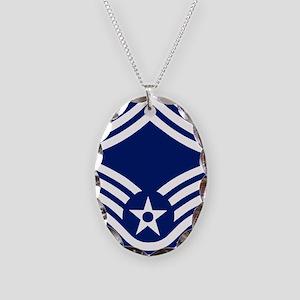 USAFSeniorMasterSergeantForCup Necklace Oval Charm