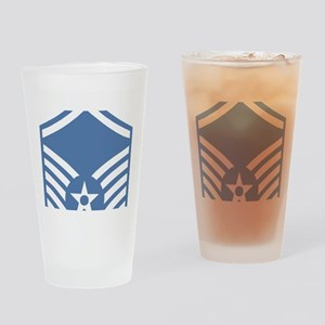 USAFMasterSergeantBlueMeshCap Drinking Glass
