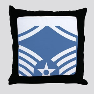 USAFMasterSergeantBlueMeshCap Throw Pillow