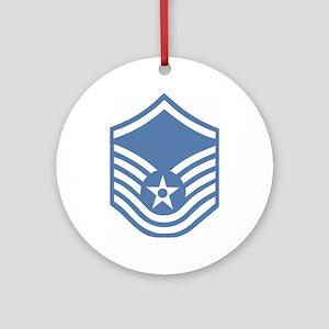 USAFMasterSergeantBlueMeshCap Round Ornament