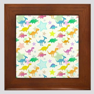 Cute Dinosaurs Pattern Framed Tile