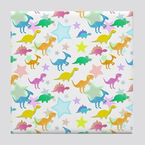 Cute Dinosaurs Pattern Tile Coaster