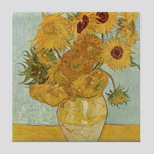 Vincent Van Gogh Vase With 12 Sunflowers Tile Coas