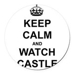"""Keep Calm And Watch Castle"" Round Car Magnet"