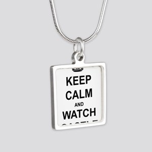 """""""Keep Calm And Watch Castle"""" Silver Square Necklac"""