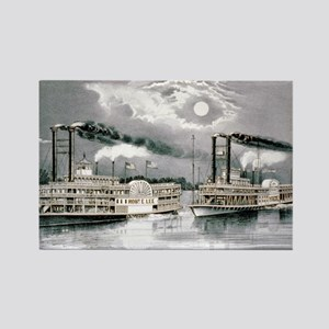 The great Mississippi steamboat race - 1870 Magnet