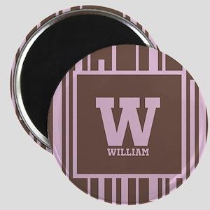 Pink - Brown Stripe Monogram Magnet