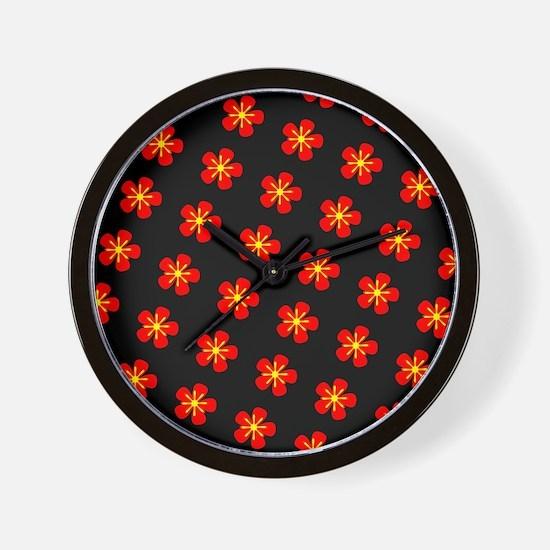 Hokkaido Red Floral Hana 25 Wall Clock