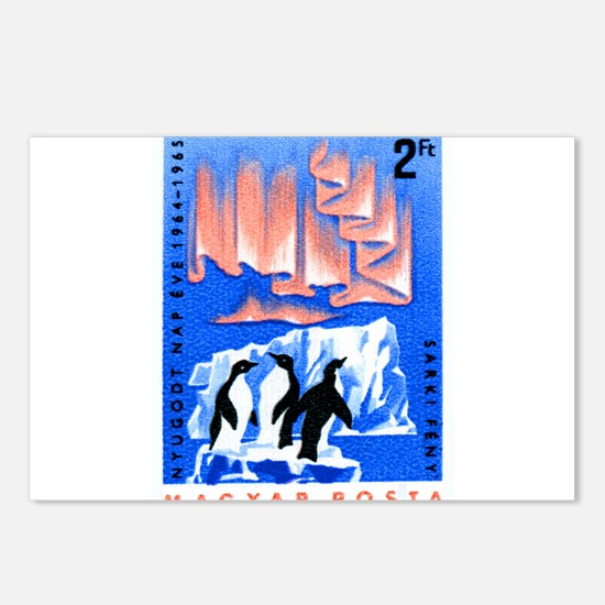 1965 Hungary Aurora Borealis Penguins Stamp Postca