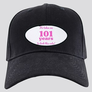 Cute 101st Birthday For Women Black Cap with Patch