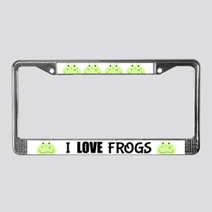 Super cute green frogs License Plate Frame