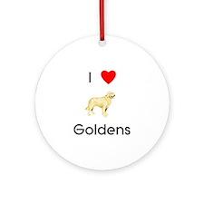 I love Goldens (pic) Ornament (Round)
