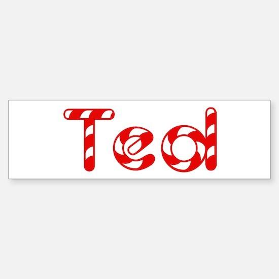 Ted - Candy Cane Bumper Bumper Bumper Sticker