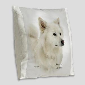 American Eskimo Dog Burlap Throw Pillow