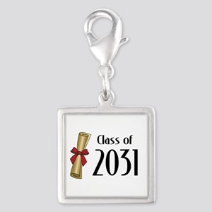 Class of 2031 Diploma Silver Square Charm