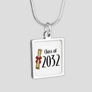 Class of 2032 Diploma Silver Square Necklace
