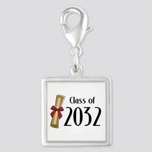 Class of 2032 Diploma Silver Square Charm