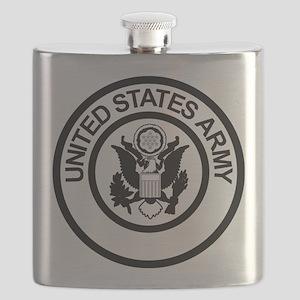 ArmyLogoBlackAndSilver Flask