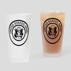 ArmyLogoBlackAndSilver Drinking Glass
