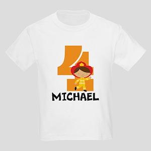 4th Birthday Fireman Personalized T-Shirt