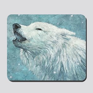Howling White Wolf Mousepad