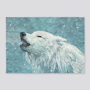 Howling White Wolf 5'x7'Area Rug