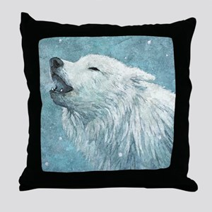 Howling White Wolf Throw Pillow
