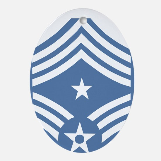 USAFCommandChiefMasterSergeantLightB Oval Ornament
